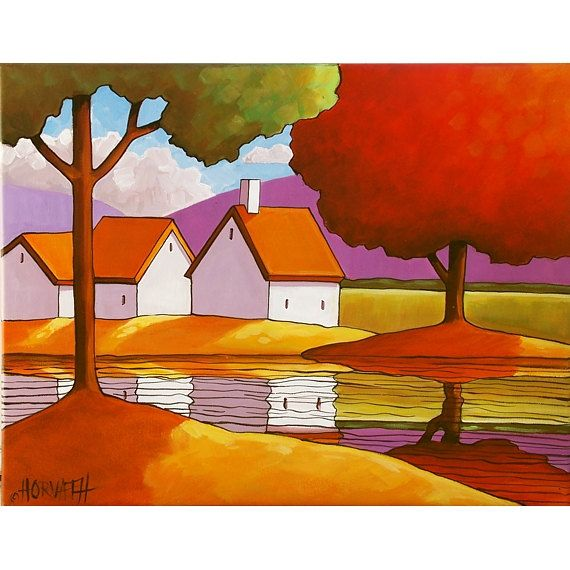 PAINTING Original Landscape Folk Art Trees Summer Cottage River Retreat Modern Acrylic On Canvas Ready To