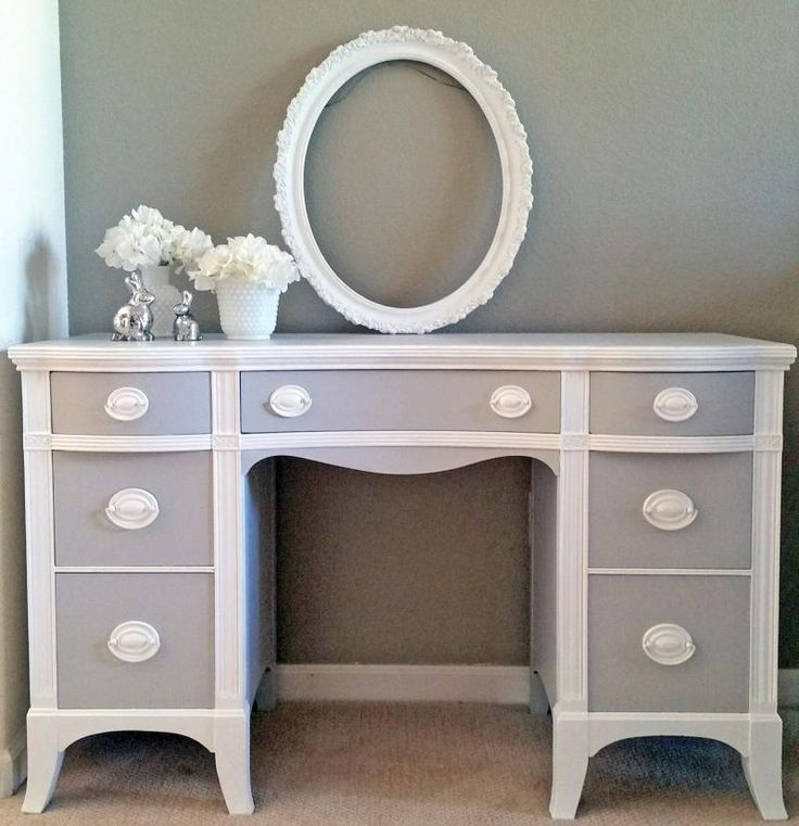Seagull Gray and Snow White Desk | General Finishes Design Center