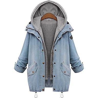 [NewYearSale]Women's Hoodie Plus Sizes Two Piece Denim Coat - USD $ 38.17