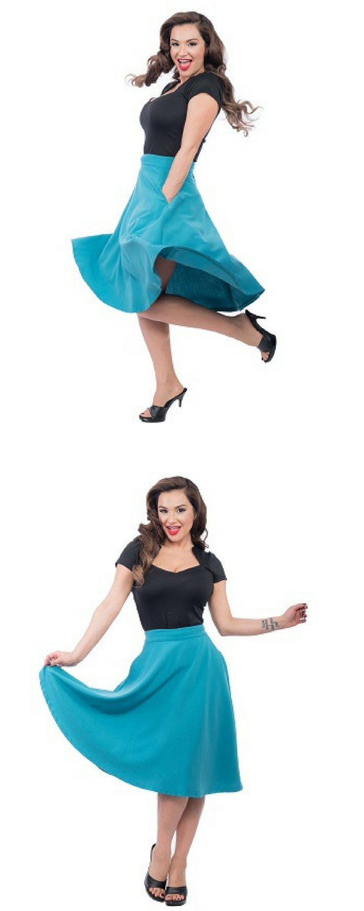 Pocket High Waist Thrills Skirt in Teal