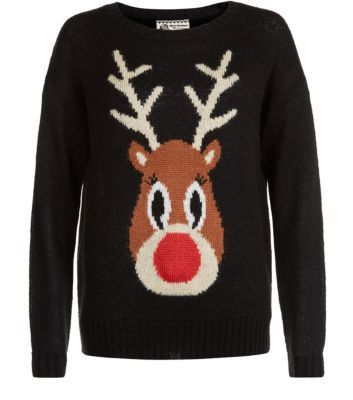 Black Reindeer Light Up Christmas Jumper Flashing nose! :D