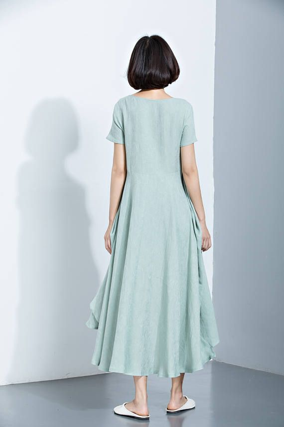 Groene linnen jurk Flare jurk lange jurk bedrukte jurk
