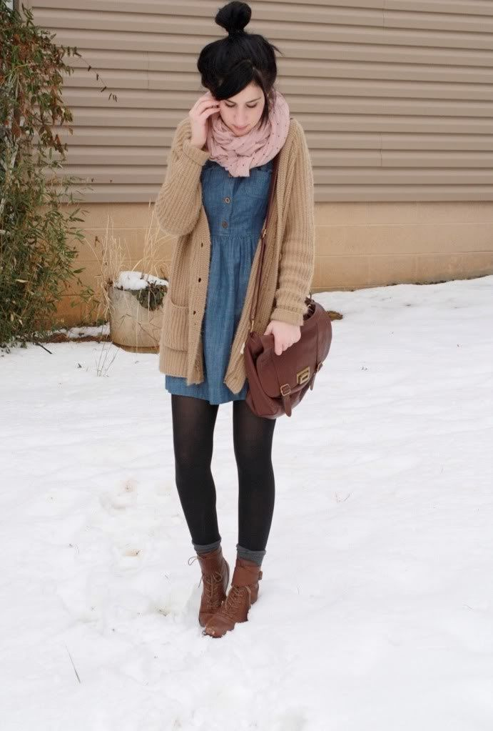 Chambray dress, camel cardigan, black tights, brown boots, pink scarf
