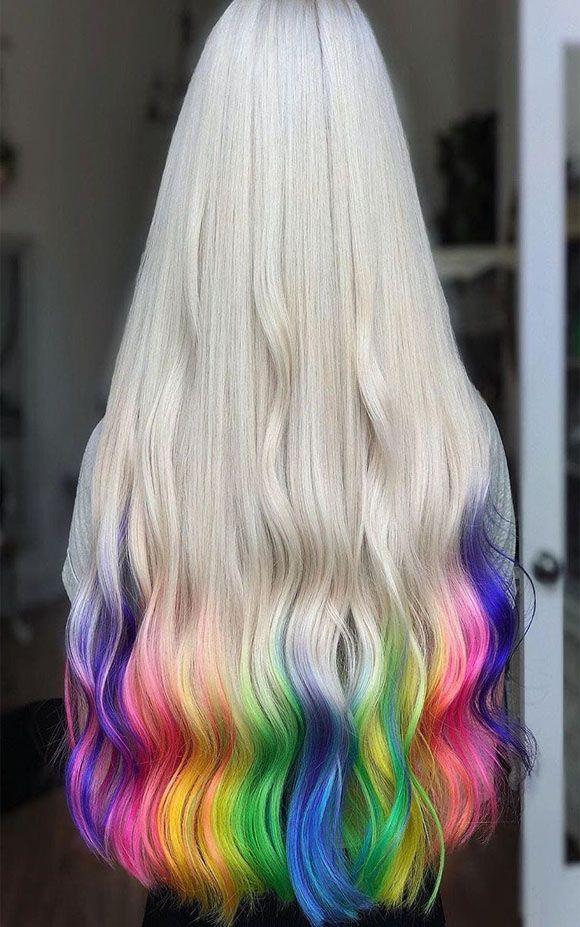 Blonde And Rainbow Hair Color Ideas 2019 Rainbow Hair Color Creative Hair Color Hair Highlights