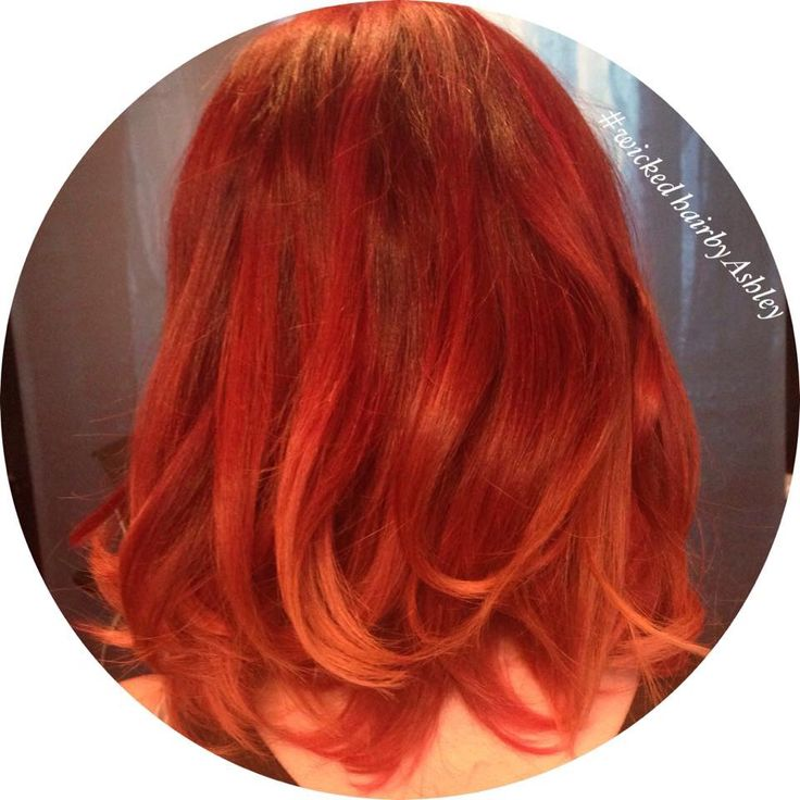 Bright red orange ombré