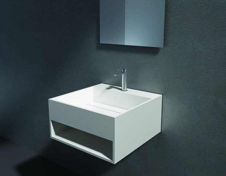 Wandwaschbecken aus Mineralguss PB2035 weiß - Solid Stone - 32,5 x 32,5 x 25 cm Badewelt Waschbecken
