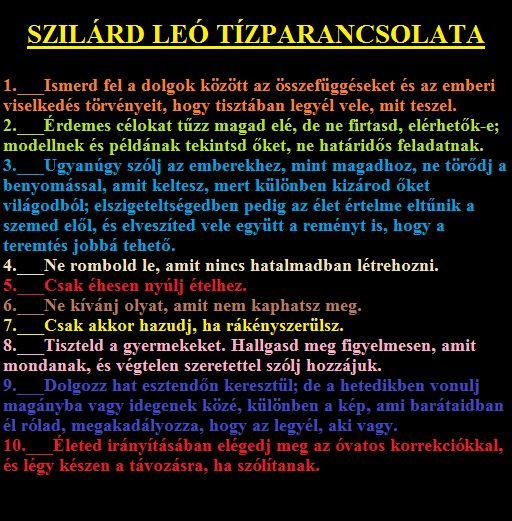 SZILÁRD LEÓ Tízparancsolata