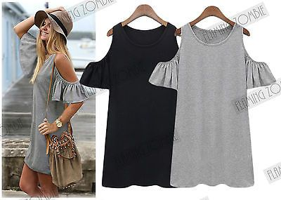 New Bardot Cut Out Off Shoulder Fashion Bohemian Hippie 80S Look Tunic Topf
