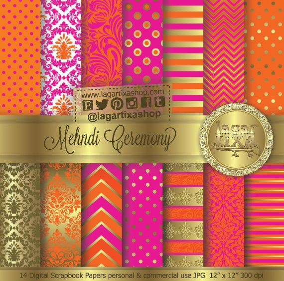 #Mehndi #mehndiCeremony #Gold #HotPink #Tangerine #indianwedding #wedding #henna #Orange #invitations #indian #invites #labels