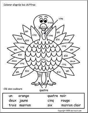 French: Colorier d'apr�s les chiffres - Color by number, turkey. Colorier d'apr�s les chiffres, dinde.