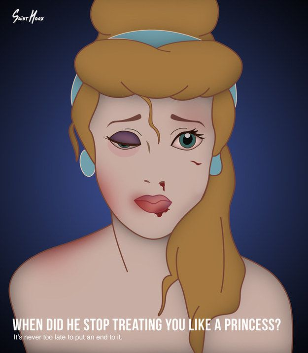 "Artist Saint Hoax has created a poster series of Disney characters Ariel, Jasmine, Cinderella, and Sleeping Beauty bruised and beaten for ""an awareness campaign of domestic violence"". 