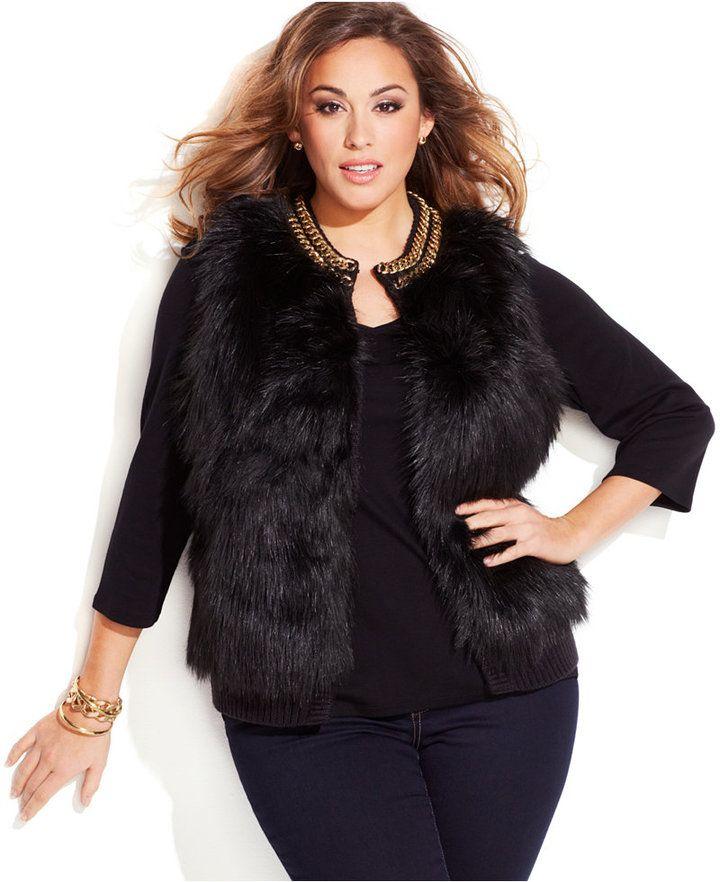 Black faux fur jacket plus size