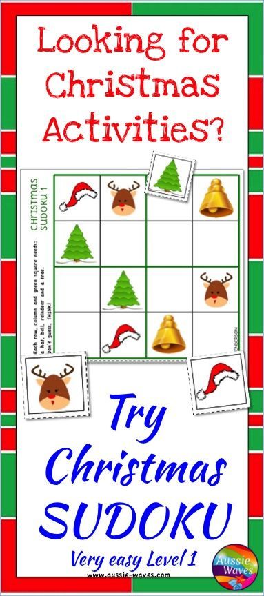 Printable Christmas Activity! Have FUN and teach students how to solve SUDOKU puzzles. Very EASY introductory level