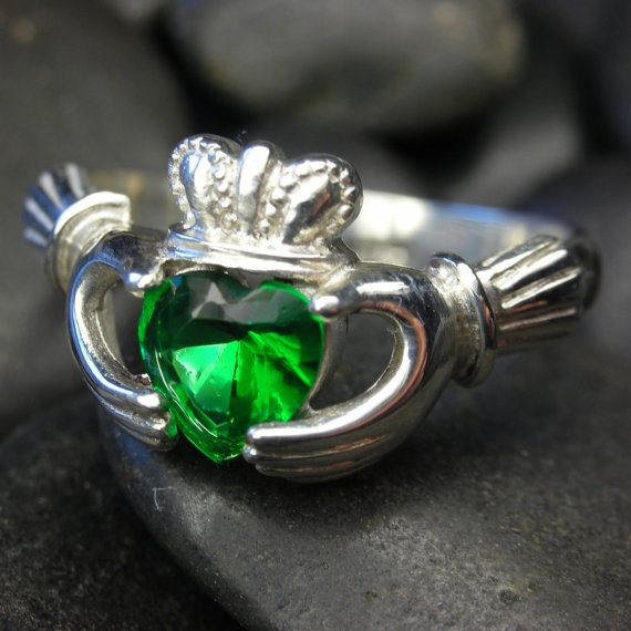 Sterling silver Claddagh ring with Emerald cubic