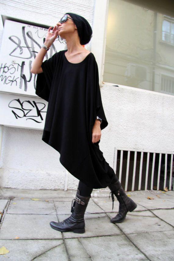 Oversized Loose Extra Large Black Blouse / Asymmetric by Aakasha, $75.00