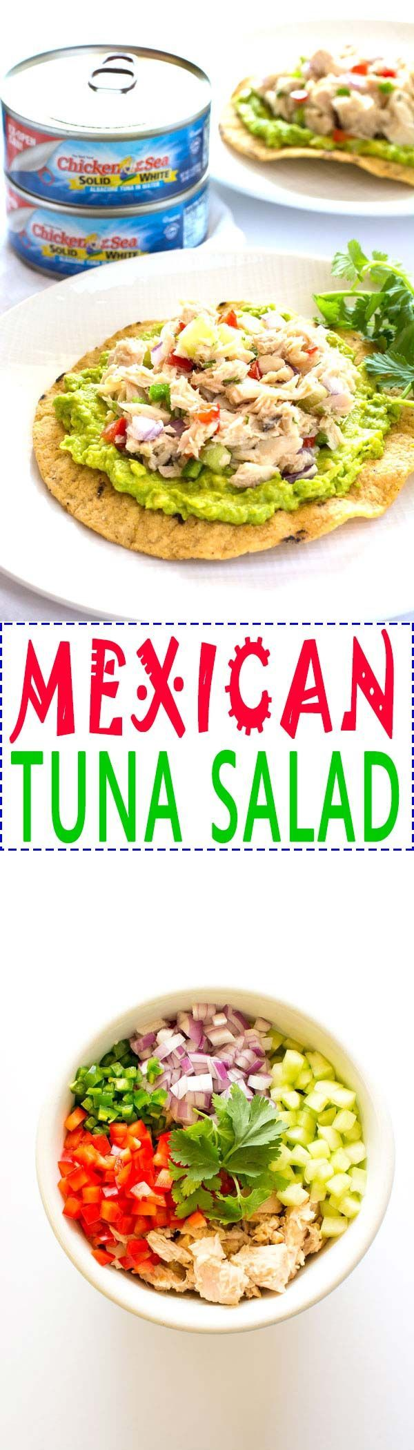 Ad: This Mexican tuna salad is a fiesta for your taste buds! Kick your tuna up a notch with this fresh and easy version that goes well with avocado!