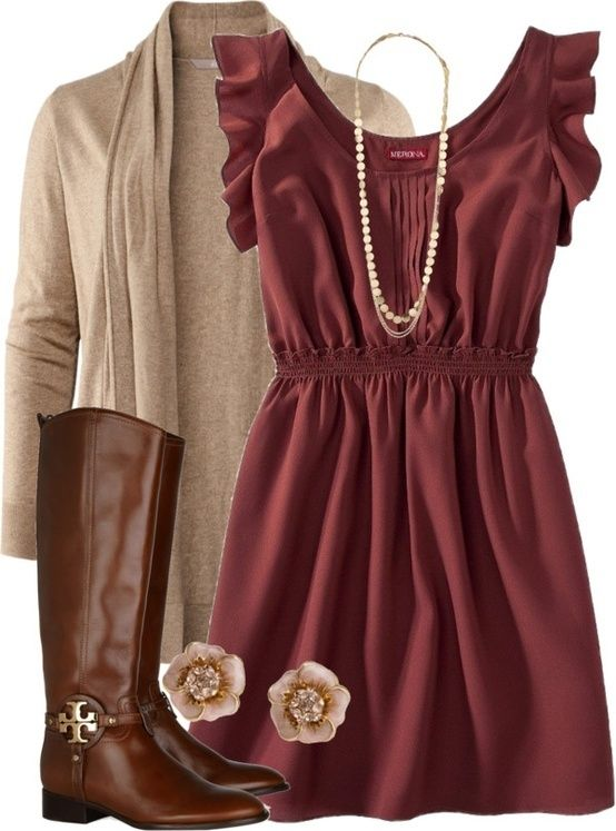 (fall/winter) maroon dress, tan sweater, brown boots (add tights for colder days)