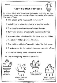Capitalization Worksheets - NO PREP | Language Arts | Worksheets ...