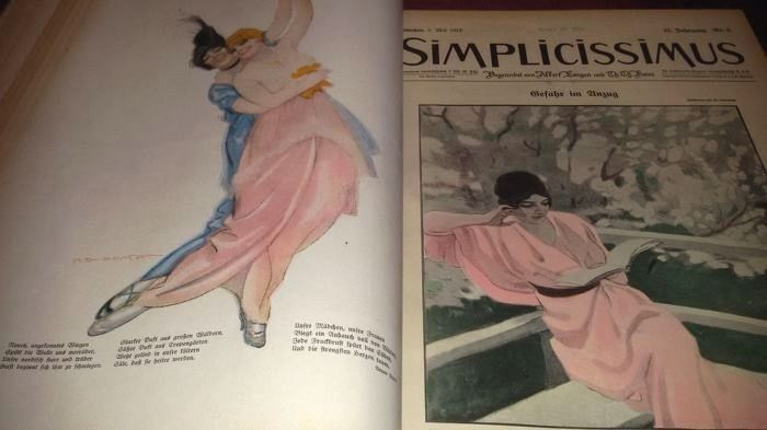 Dudovich in SIMPLICISSIMUS rivista satirica 1913/1914, volume 18 , completa .