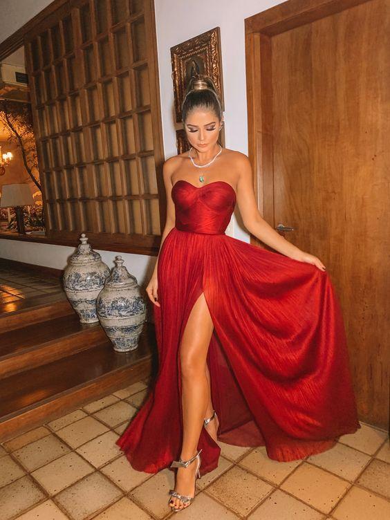 30 vestidos de festa poderosos para noite | Vestidos, Vestidos glamourosos, Vestido vermelho longo