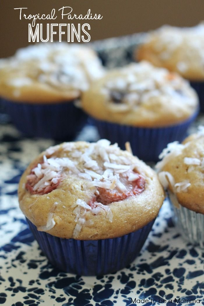 Tropical Paradise Muffins-- a yummy breakfast or brunch recipe that encompasses the flavors of cinnamon, honey, yogurt and all of the fruits that you can think of. A true tropical paradise in muffin form!