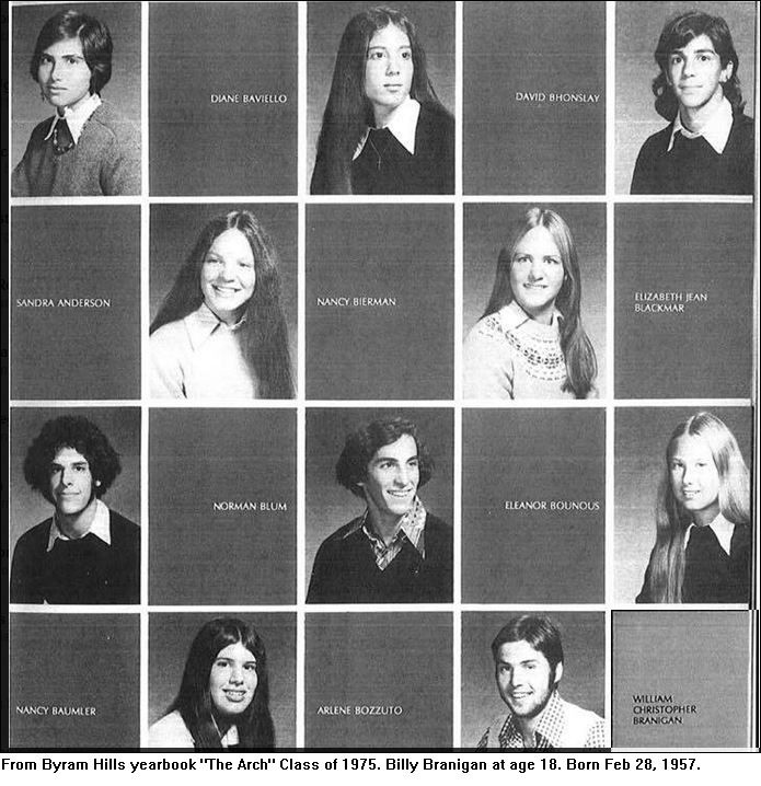 "Billy Branigan graduated from Byram Hills high school 1975. Photo from the yearbook ""The Arch""."