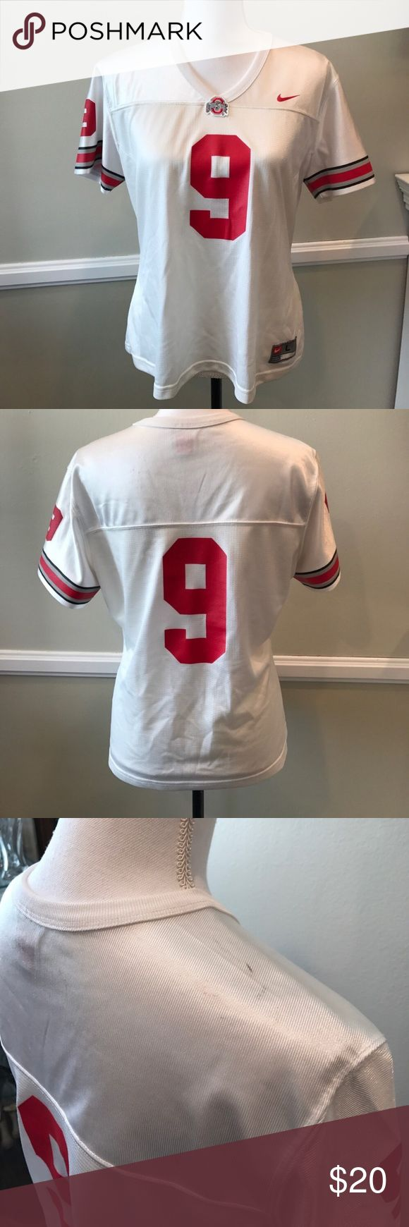 White Ohio State Jersey Bust measures 20.5 inches, black mark on shoulder, in good condition. (Reposh- was listed as women's but I'm pretty sure it is a youth jersey) Nike Tops Tees - Short Sleeve