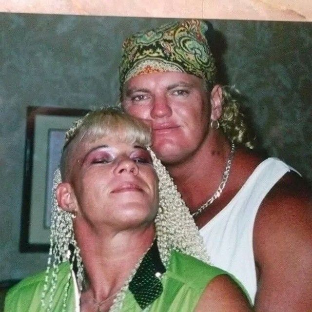 Classic photo of former WWE Superstar Gangrel (David Heath) and his former wife Luna Vachon (Gertrude Vachon), who passed away in August 2010 #WWE #WWF #RIP