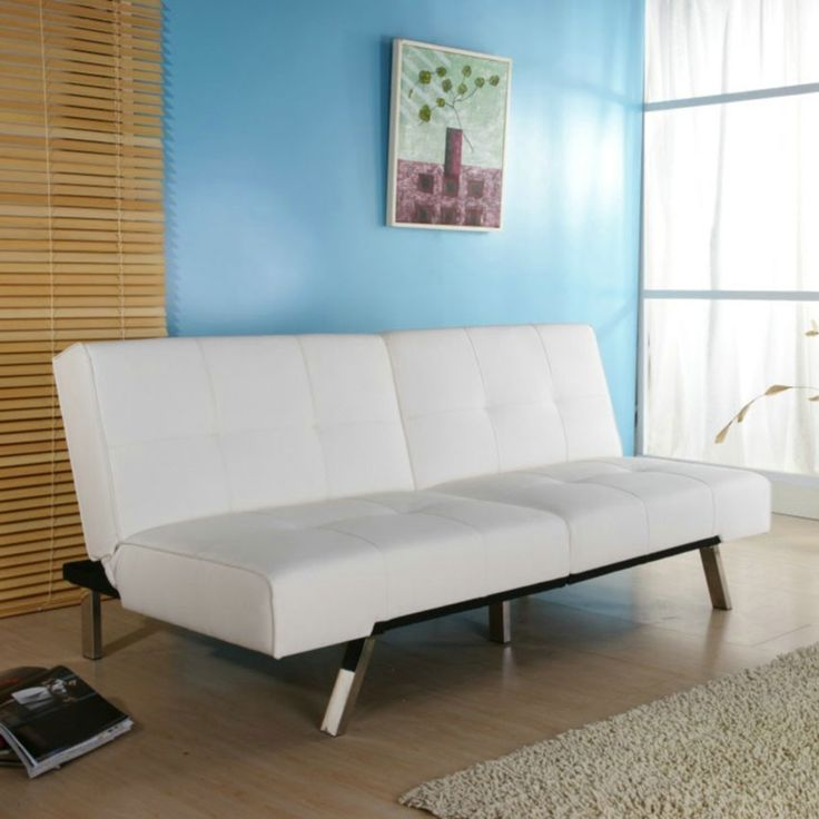 White Leatherette Futon Sofa Bed With Chrome Metal Legs | Metals, Products  And Sofa Beds