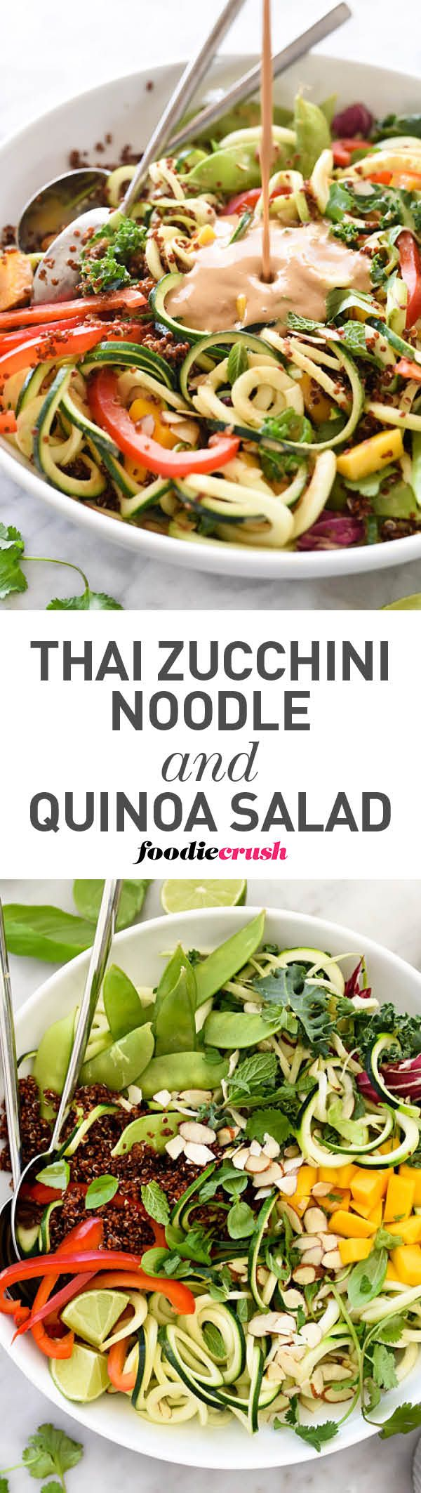Spiralized zucchini is the base of this raw vegetable salad with sweet mango bites and a flavorful Thai peanut dressing | foodiecrush.com