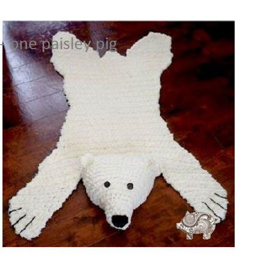 "Polar Bear ""Skein"" Rug With Stuffed Or Flat Head"