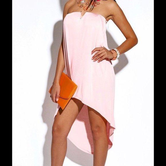 1HR SaleStrapless Summer Dress #BT-02-PNK-M strapless cocktail dress. 95% rayon 5% spandex. Dresses