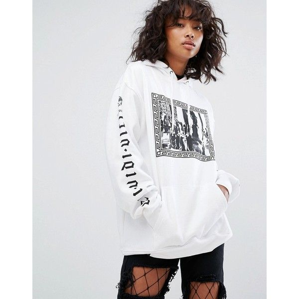 Wasted Paris Oversized Skate Hoodie With Emporer Print (£65) ❤ liked on Polyvore featuring tops, hoodies, white, tall hoodies, white hooded sweatshirt, patterned hoody, white cotton hoodie and tall hooded sweatshirt
