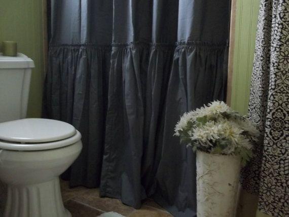 Shabby Chic Ruffled - Charcoal Gray Shower Curtain
