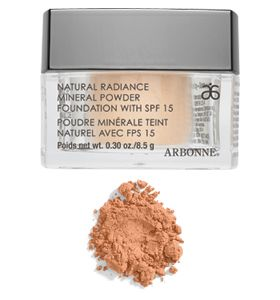 Mineral powder...arbonne has the best make up ever! it lasts forever and is all natural!