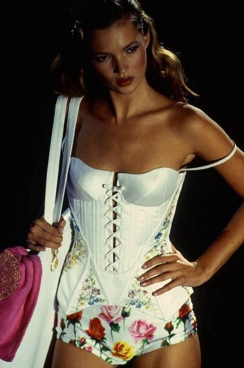 Vintage Kate Moss for Versace. Love those floral panties! @}-,-;—     Inspires me to watch my fitness!!!!