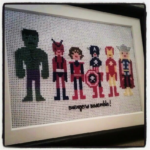 Avengers Assemble free design from WeeLittleStitches on Etsy. I added the Hulk from one of their other designs.