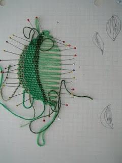 The art of 'pin-weaving.'  Amazing.
