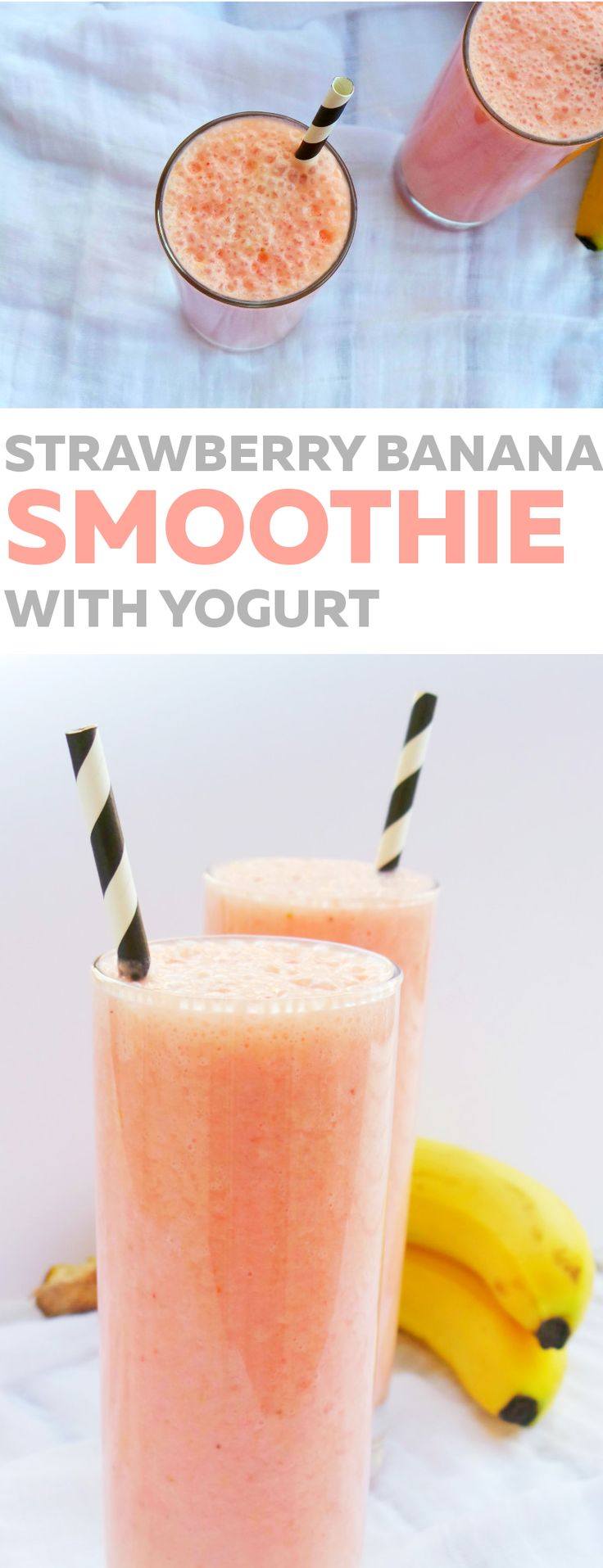 Healthy breakfast smoothie: Strawberry, banana and yogurt smoothie that is perfect as a start of your day. Delicious and satisfying, good for your skin and your gut health