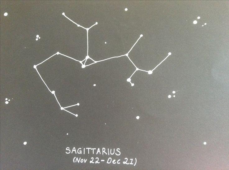 constellation design (sagittarius):   black card | white pen
