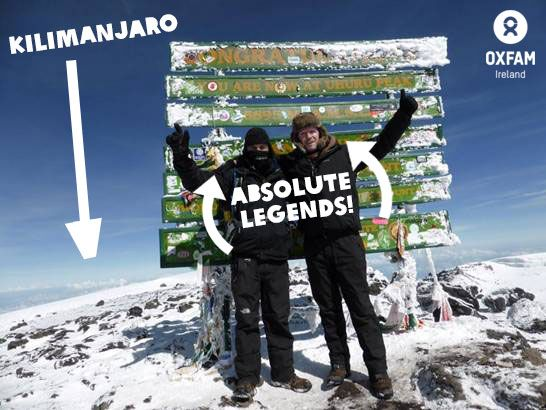 A MOUNTAIN of thanks to Gerard Catney and John Sheppard who have so far raised a whopping £9,725.26 for Oxfam Ireland through their sponsored climb of Kilimanjaro. Here they are at the summit! Give this a LIKE to say well done to the guys. Huge achievement!