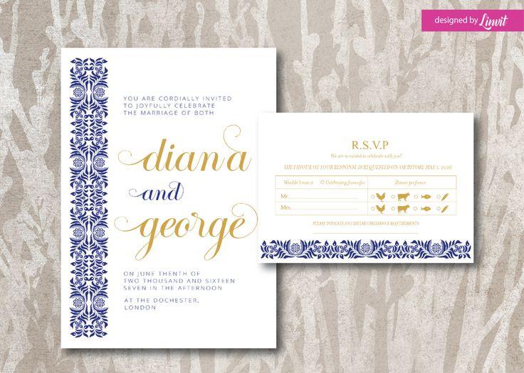 Luxury Wedding Invitation-Digital wedding invitation-Printable wedding invitation set-Custom wedding invitation- by Linvit on Etsy