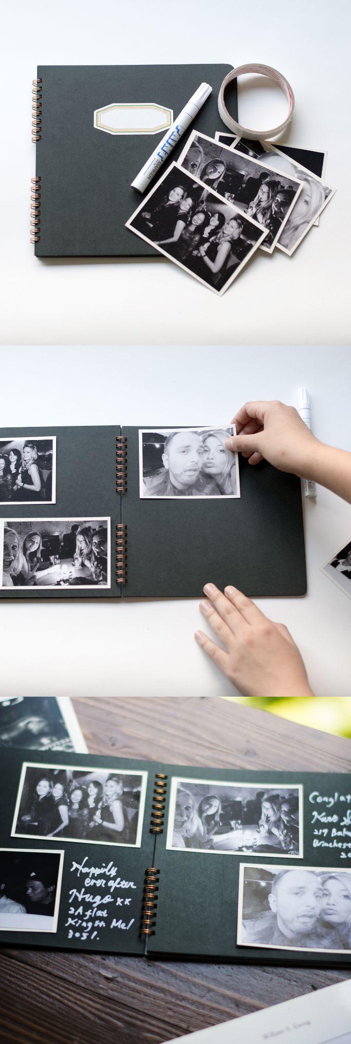 [DIY]モノクロ写真を使ったゲストブック フォトアルバム兼ゲストブック。ゲストに白いペンで記入してもらうとよりクールな印象が際立ちます。あらかじめゲストの思い出の写真を貼っておいてもいいし、当日の式の様子を撮影して後から貼り付けても。後から写真を貼る場合は、写真を貼り付けるスペースを空けておいてね。