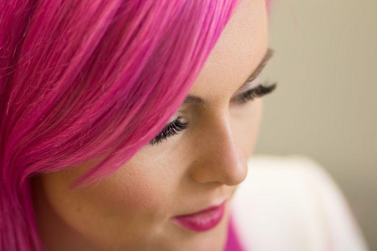 Pink hair, eyelashes, lash extensions, long eyelashes.
