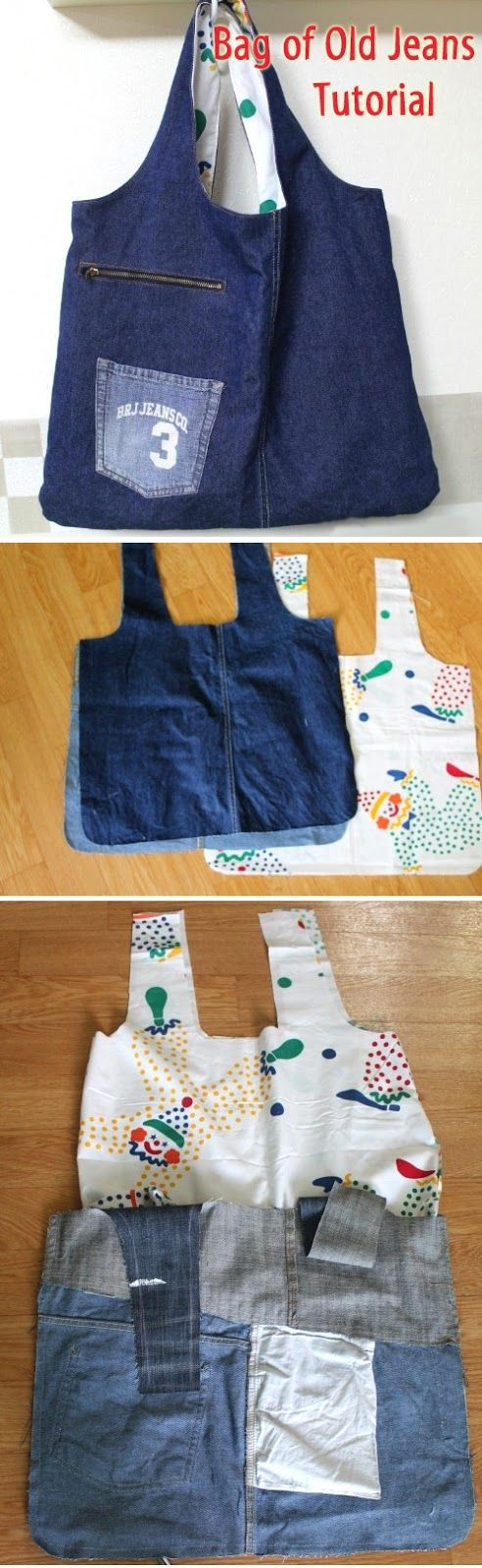 How to sew a bag for shopping of old jeans. Photos sewing instructions. http://www.handmadiya.com/2016/04/eco-bag-of-old-jeans-tutorial.html