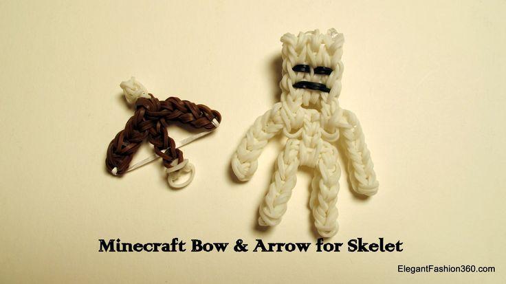 minecraft rainbow loom   How to make rainbow loom minecraft bow and arrow for skeleton ...