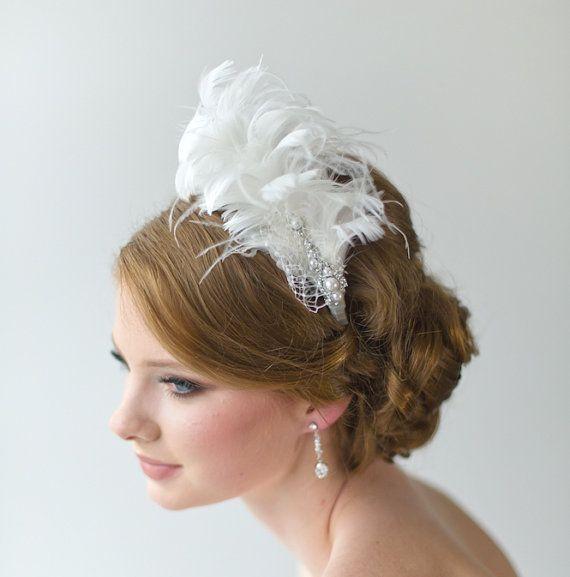 Gatsby Wedding Fascinator Bridal Fascinator by PowderBlueBijoux