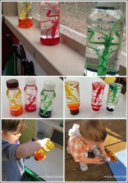 Kid made discovery bottles- I love the idea of having these around the room corresponding to our current projects/themes