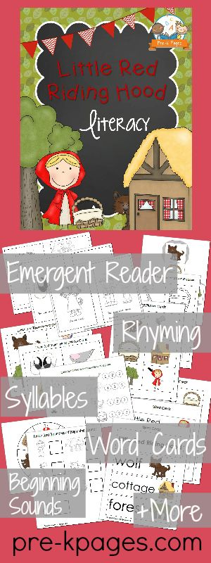 Printable Little Red Riding Hood Literacy Activities for Preschool and Kindergarten