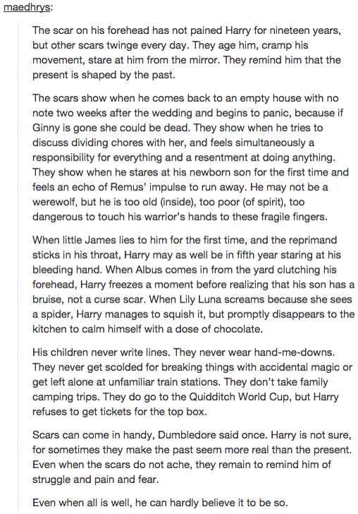 "I honestly wish that the ending of the Harry Potter series was a little bit more like this. After all the shit that Harry's been through, it makes sense that he would have some serious emotional scar tissue, not just ""All was well, everything's peachy-keen."""